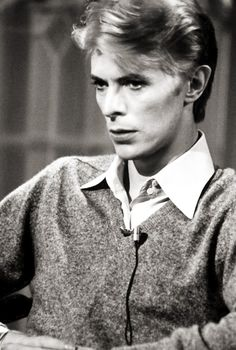 David Bowie 1976    pale grey/beige tall colar (italian style) dark grey V Neck Sweater jeans