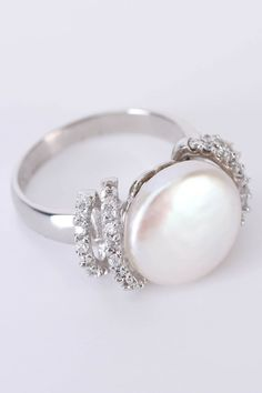 Majestic Pearls 11.5mm-12mm Freshwater Coin Pearl & CZ Ring In White