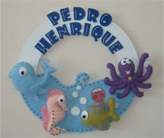 Enfeite de Porta Fundo do Mar   Joaninha Baby   F4223 - Elo7