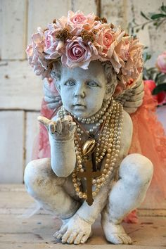 Check out Cherub statue adorned pink rose crown shabby cottage chic distressed ornate angel pearls figure home decor design by anita spero design on anitasperodesign