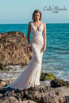Calla Blanche wedding dress/gown- Reina, ivory trumpet style style wedding dress with lace, v-neckline and sleeveless. For the Bride Boutique, Ft. Myers, FL