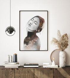 Beautiful art prints illustrated by Norwegian artist and designer Linda Skaret, available in several sizes. Living Room Interior, Scandinavian Style, Painting & Drawing, Beautiful Ladies, Art Prints, Drawings, Illustration, Modern, Artist