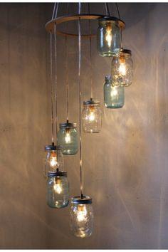 """Find on etsy! Mason Jar chandelier. """"Waterfall showers"""""""