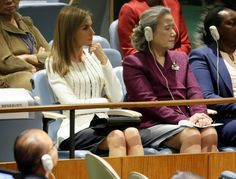 Queen Maxima of the Netherlands and Queen Letizia of Spain chat at the UN, NYC 9/24/2014