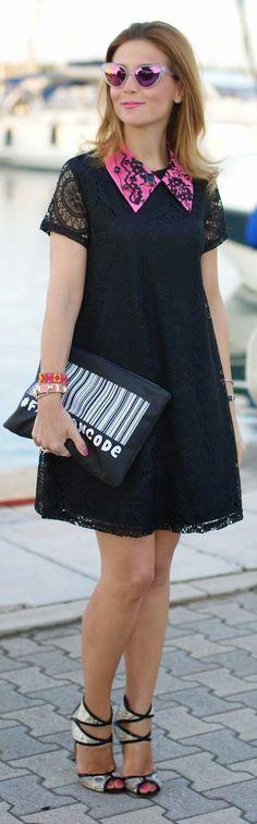 Black lace dress, fuchsia collar by Fashion & Cookies