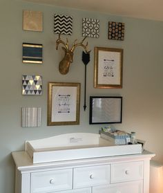 Gallery wall: I like the squares covered in geometric fabric with nothing else on them! Might be good for one of the cubes?