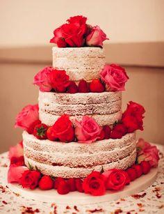 Naked Cakes - bolo, torta, naked cake, flor, feminino, romântico, casamento -