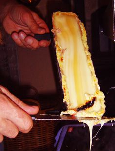 Scraping Melted Raclette Cheese.  Photo credit: jespahjoy Raclette Party, Raclette Cheese, French Cheese, Cheese Party, Photo Credit, Island, Country, Ethnic Recipes, Food