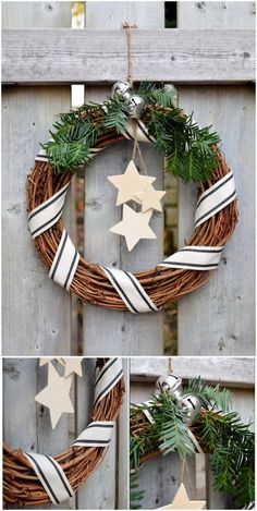 This rustic willow wreath is a stunning, natural-looking addition to any door. It is easy and quic Christmas Stencils, Burlap Christmas, Farmhouse Christmas Decor, Diy Christmas Tree, Christmas Signs, Christmas Wreaths, Christmas Decorations, Christmas Ornaments, Holiday Decor