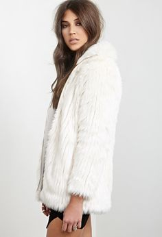 High-Collar Faux Fur Jacket | FOREVER21 - 2055878481
