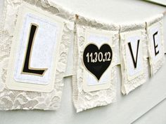 Make Thank you sign with tan fabric and sangria  burlap lace wedding sign LOVE with wedding date
