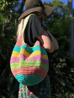 Crochet Marley Market Bag - crochet market bag, crochet bag, boho bag, hippy bag, ombre yarn, festival bag, tote bag, cakes yarn,