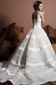 House of Brides - Wedding Dress  love the striped skirt