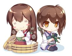 Kantai collection - Akagi and Kaga chibi by Teppez