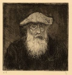 """Camille Pissarro self-portrait, 1890. From """"100 Self-Portrait Drawings from 1484 to Today"""""""