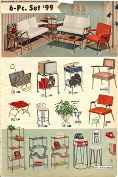 montgomery ward summer 1959 catalog is part of Metal furniture Vintage - super cool mid century furniture i am always a fan of bullet planters! Mid Century Decor, Mid Century Style, Mid Century House, Mid Century Modern Design, Mid Century Modern Furniture, Look Vintage, Vintage Decor, Retro Vintage, 1950s Decor
