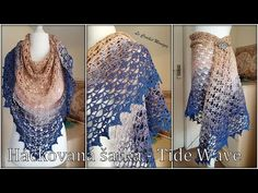 Háčkovaná šatka - Tide Wave/Crocheted Shawl - Tide Wave (english subtitles) - YouTube Shawl, Kimono Top, Waves, English, Knitting, Youtube, Fashion, Crochet Cape, Moda