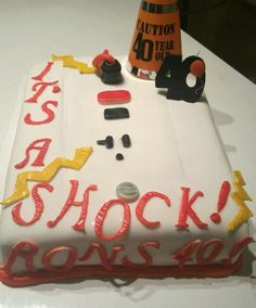 perfect for the electrician in your life! red velvet cake with vanilla frosting and fondant.
