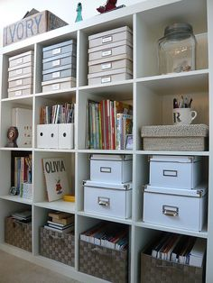 Craft Room storage with IKEA Expedit shelves. Bookcase Organization, Home Office Organization, Craft Organization, Craft Storage, Office Decor, Organized Office, Office Ideas, Office Storage Ideas, Paper Storage