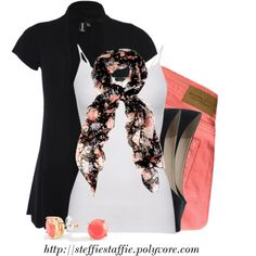 Black & Coral, created by steffiestaffie on Polyvore