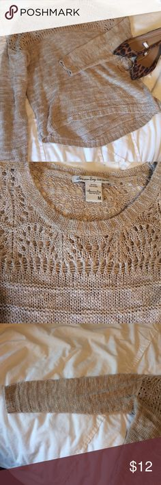 American Rag Oatmeal Sweater Loose fitting, slight hi-lo with lovely crocheted top. Soft and comfy, 3/4 sleeves. American Rag Sweaters Crew & Scoop Necks