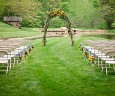 Wedding arbor sunflowers, need to figure out how to do something like this
