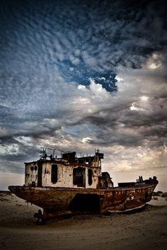 Ship in the Aral Sea