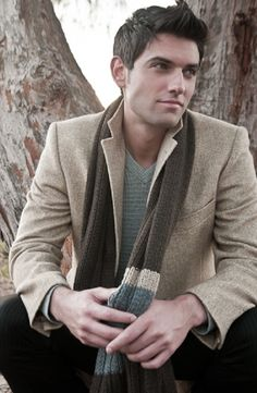nice and simple:  blazer jacket over v-neck sweater, with scarf