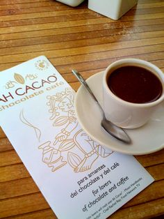 Pure Mayan dark chocolate in a cup. Chocolatier and coffee shop, Playa del Carmen.