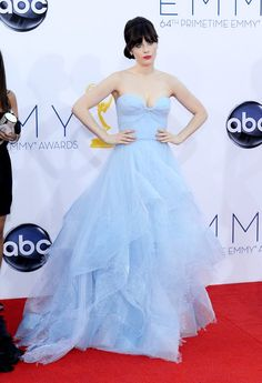 Zooey Deschanel in a Reem Acra gown in powder blue at the 64th Annual Primetime Emmy Awards. #fashion #thenewgirl #Emmys