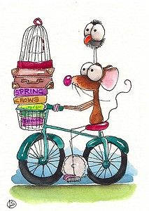 Mouse and crow take a road trip on the bicycle... Enjoy!