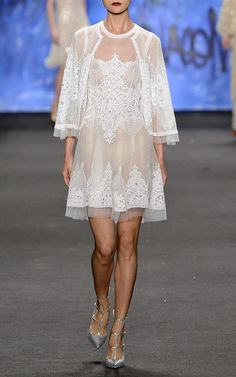 Lace Embroidered Dress by Naeem Khan for Preorder on Moda Operandi