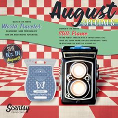 Calling all photography and travel lovers!  August's Warmer of the Month is Still Frame - a take on an old school camera.  The Scent of the Month is World Traveler - it's slightly sweet but also manly smelling. I love it and so does my hubby!  Want more details click the picture to view it online or contact me today to order yours :)