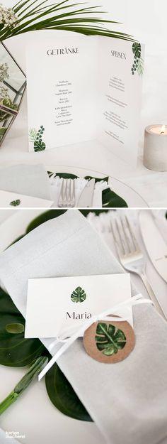 Tipp für die Dekoration des Hochzeitstisches: Greift die Blätter eurer Papeterie auch auf dem Hochzeitstisch auf. So entsteht ein stimmiges Bild.