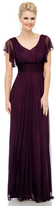 V-Neck Ruffle Sleeves Long Formal Dress with Pleating