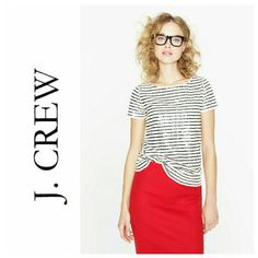 J.Crew sequin stripe tee Like NEW 100% cotton tee with creme and navy sequins. From their Holiday 2012 collection.  Price drop: 11-23-15 J. Crew Tops Tees - Short Sleeve
