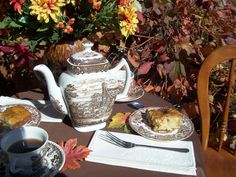 Autumn tea with apple cake at the garden: The teacups are marked Broadhurst England and Barralls    Elizabethan, Staffordshire England.  The dessert  plates are Tonquin by Franciscan, Staffordshire England.