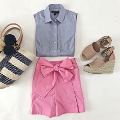 J.Crew pink bow tie waist shorts, Mar y sol striped woven straw tote, Banana Republic scalloped riley shirt, Marc Fisher wedge sandals