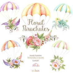 Watercolor Parachutes with Floral Wedding Bouquets. Hand painted clipart, Wedding invitation, DIY, png elements, invite, greeting card