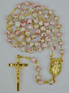 Chapelet en Perles de Verres Blanches