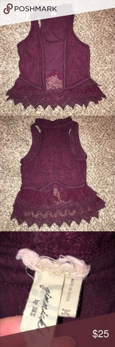 Gimmicks by BKE Maroon Vest Maroon lace vest from Buckle... super cute with a long sleeve underneath. Runs small! Buckle Jackets & Coats Vests