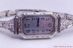 Longines Art Deco Filigree Vintage 14k 18k White Gold Diamond Band Womens Watch #Unbranded