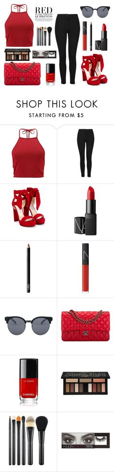 """""""Red In The Time Of Quirkiness"""" by ballereyna ❤ liked on Polyvore featuring beauty, Boohoo, Topshop, Jimmy Choo, NARS Cosmetics, Quay, Chanel, Kat Von D, MAC Cosmetics and Huda Beauty"""