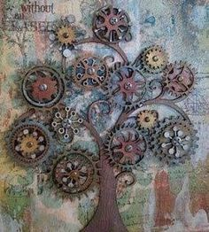 Steampunk tree art - love this! Also pinned to Steampunk Metal Projects, Welding Projects, Metal Crafts, Welding Ideas, Welding Crafts, Outdoor Projects, Metal Tree Wall Art, Scrap Metal Art, Metal Yard Art
