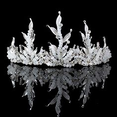 FUMUD Beauty Hair Tiara Princess Rhinestone Crystal Pearl Leaf Crown Bridal Crown Hairband Tiara for Wedding Party 2 *** To view further for this item, visit the image link.(This is an Amazon affiliate link and I receive a commission for the sales)