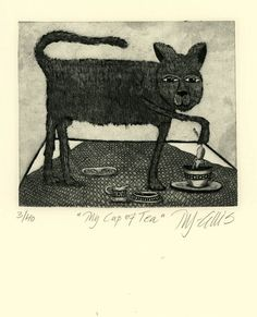 etching My Cup of tea cat mouse tea break by mariannjohansenellis