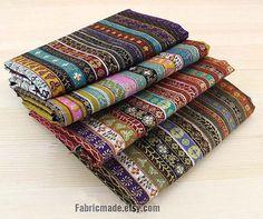 Colorful Stripe Cotton Linen Fabric BOHO Bohemian Style Garment Chair Cushion Fabric- 1/2 Yard