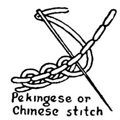 pekingese or chinese stitch -A combination of backstitch & an interlacing stitch as shown.