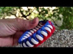 Paracord bracelet red,blue,white - YouTube