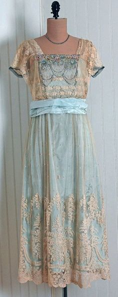 1910s Champagne and Aqua Dress 1910s.
